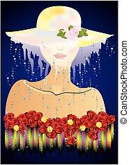 tajemniczy, kobieta, kapelusz