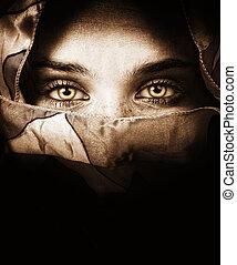 tajemniczy, oczy, kobieta, czuciowy