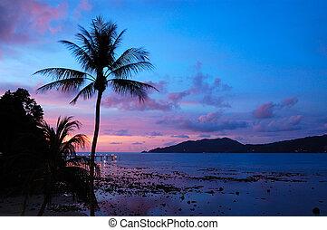 tajlandia, zachód słońca, patong plaża, phuket