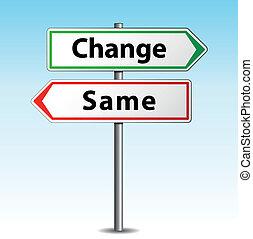 tak samo, wektor, albo, zmiana, znak