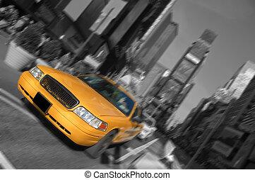 taksówka, miasto, skwer, czasy, ruch, york, plama, nowy