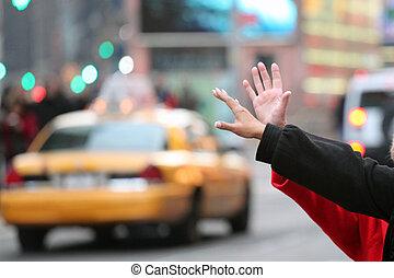 taksówka, siła robocza, falować, york, taksówka, nowy