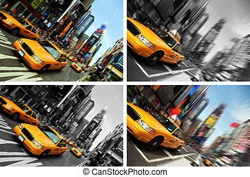 taksówka, skwer, czasy, ruch, york, plama, nowy