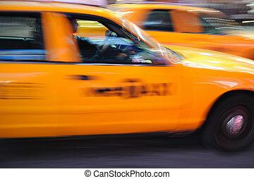 taksówka, skwer, czasy, york, nowy, taksówka