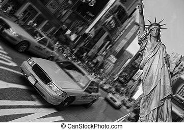 taksówka, skwer, miasto, ognisko, czasy, ruch, york, plama, nowy