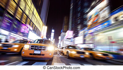 taksówka, skwer, noc, york, czas, nowy