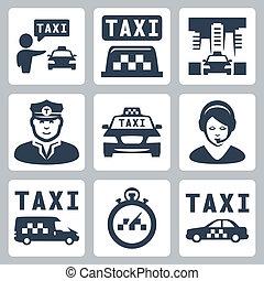 taksówka, wektor, komplet, odizolowany, ikony