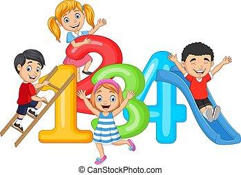 takty muzyczne, szczęśliwy, mały, rysunek, dzieci