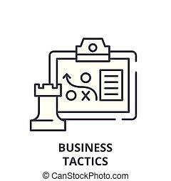 taktyka, linearny, handlowa ilustracja, concept., symbol, wektor, kreska, znak, ikona