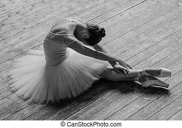 tancerz, przedstawianie, studio, piękny, młody