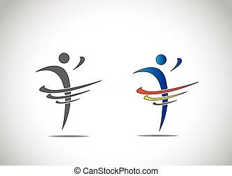 taniec, abstrakcyjny, osoba, radość, stosowność, symbol, szczęście, ikona
