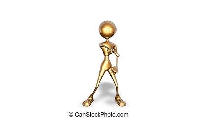 taniec, biały, 3d, złoty, człowiek, looped, -