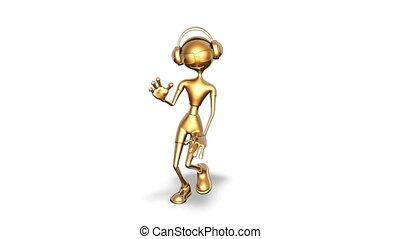 taniec, człowiek, złoty, looped, -, biały, 3d