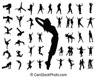 taniec, skokowy, sylwetka, ludzie