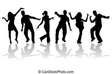 taniec, sylwetka, -, zbiór, wielki