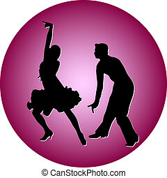 taniec, wektor, sylwetka, ludzie