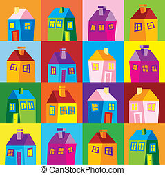 tapeta, domy, ilustracja