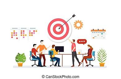 tarcza, drużyna, ikona, zadanie, handlowy, dyskusja, wektor, plan, osiągnąć, spis, kalendarz, -, cele