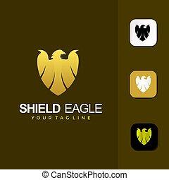 tarcza, wektor, orzeł, projektować, logo, premia, szablon