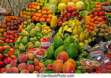 targ, la, boqueria, barcelona, ognisko., sławny, selekcyjny, świat, spain., fruits.