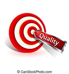 target., concept., znak, utrafiając, wektor, strzałka, jakość, czerwony