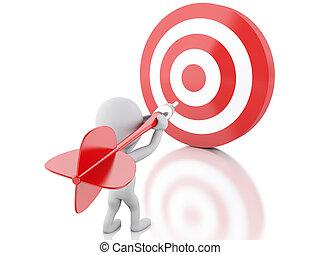 target., powodzenie, ludzie, business., strzałka, biały, 3d