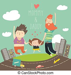 tatuś, córka, dzierżawa, rodzina, skakał, mamusia, siła robocza, jumping., radosny