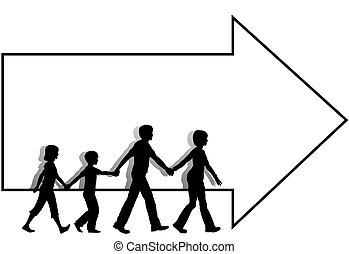 tatuś, dzieciaki, mamusia, copyspace, chód, =family, strzała, wynikać