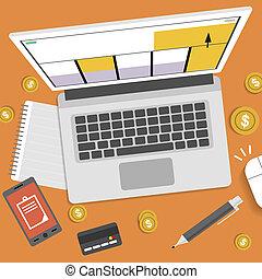 taxes., halabarda, wektor, opodatkowanie, kształt, monety, stan, kalendarz, obliczenie, intratny, laptop, return., pióro, smartphone, pojęcie, halabarda, notebook., payment., opodatkować