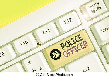 team., demonstrowanie, pisanie, tekst, prawo, oficer, pojęcie, policja, treść, officer., pismo, wykonanie