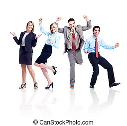 team., szczęśliwy, handlowy zaludniają