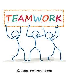 teamwork, 3, stickman, chorągiew