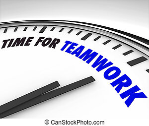 teamwork, czas, -, zegar