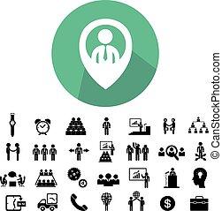 teamwork, ikona, komplet, handlowy