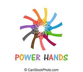 teamwork, moc, dopomagając rękom, ludzie