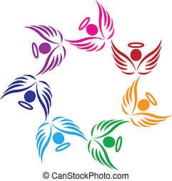teamwork, poparcie, anioły, logo
