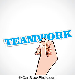 teamwork, słowo, ręka