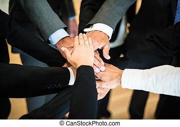 teamwork, -, stóg, siła robocza