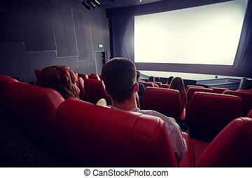 teatr, kino, film, para, oglądając, albo, szczęśliwy