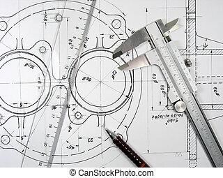 techniczny ołówek, suwmiarka, rysunki, linia