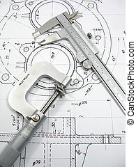 techniczny, technika, narzędzia, rysunek
