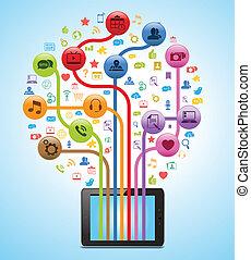 technologia, app, drzewo, tabliczka
