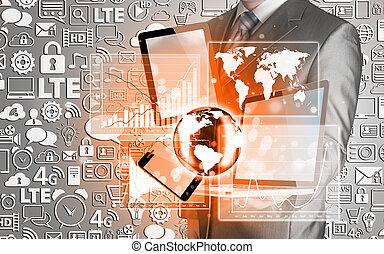 technologia, biznesmeni, siła robocza