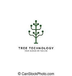 technologia, logo, wektor, projektować, drzewo