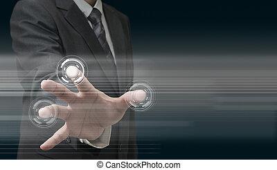 technologia, ręka, nowoczesny, pracujący