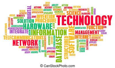 technologia, słowo, chmura