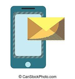 technologia, wiadomość, smartphone, elektronowy, e-poczta