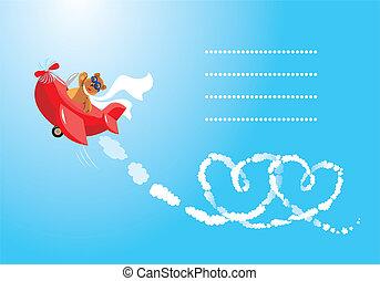 teddy, lotnik, niedźwiedź, cartoon., zabawny