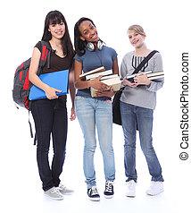 teenage dziewczyny, student, etniczny, wykształcenie, szczęśliwy