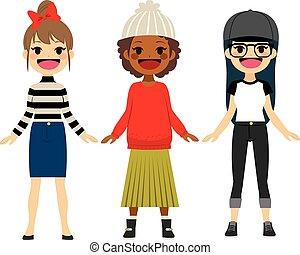 teenage, fason, dziewczyny